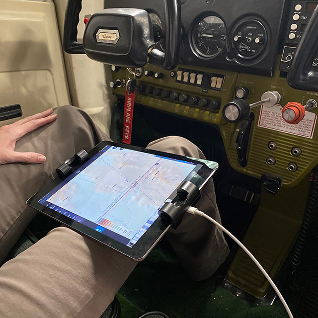 iPad Kneeboard being used in an airplane cockpit